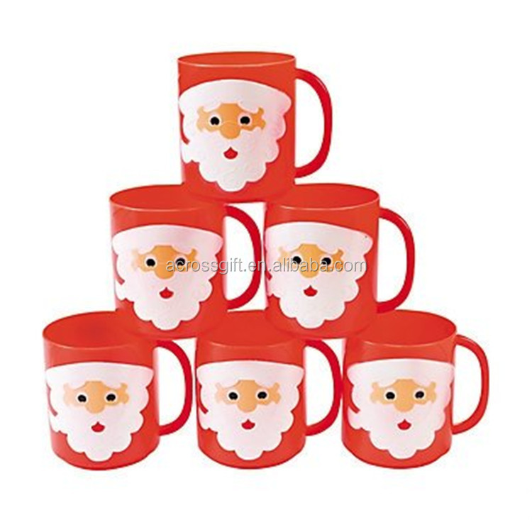 Personalized Handmade Color Glazed Decorative Santa Face Mugs,Set of 6