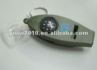 4-in-1 Whistle magnifier compass and 2-scale thermometer