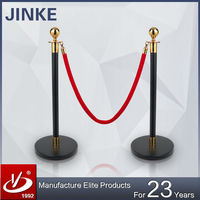 JINKE 2016 New Idea Innovative Logo Printed Stainless Steel Pipe Stanchion with Flat Base