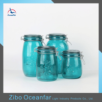 High Quality Fancy Canning Emboosed Glass Jars Colored Glass Jars Wholesale