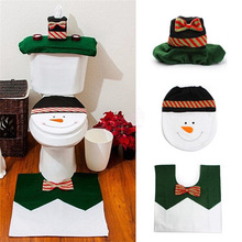 3Pcs/set Style Christmas Decorations Rug Bathroom Set Happy Snowmen Fabric Toilet Seat Cover