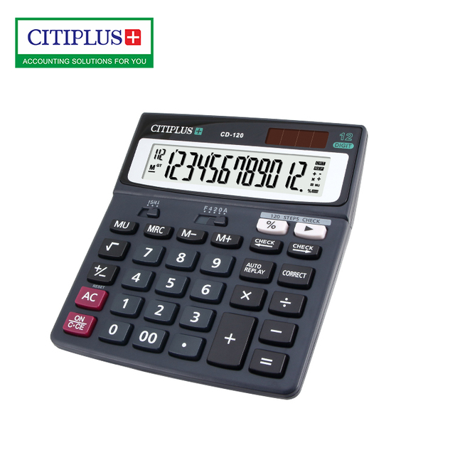 CD-120 12 digits daul power desktop tax calculator with 120 steps correct & check function