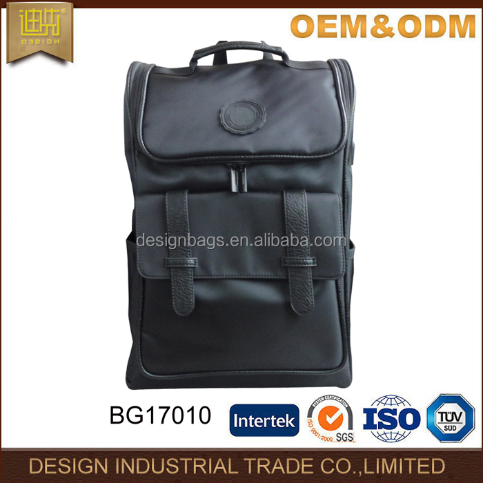 Fashion PU leather laptop backpack charging rucksack