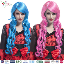 fashion women synthetic hair blue and pink long deep curly wig