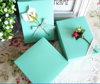 Light blue color custom logo printed cardboard jewelry packaging box with ribbon