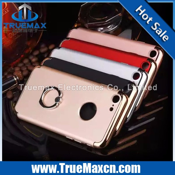 Hot Selling 3 Pieces Sets Scrubs Cell Phone PC Case for iPhone 7 Plating Upper And Down Cover With Ring Buckle Case
