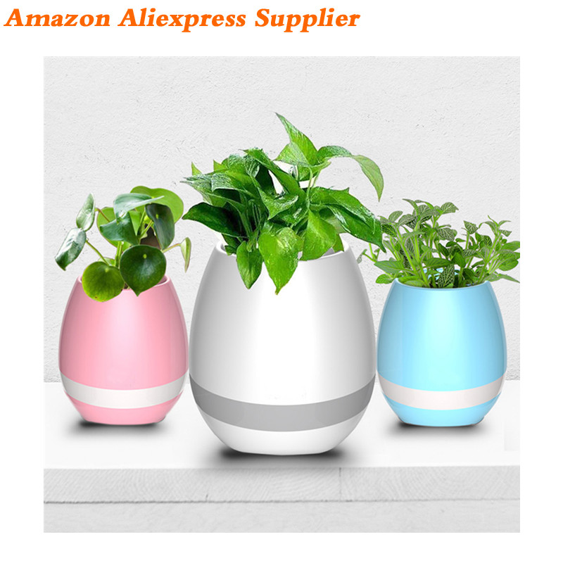 2017 New Products Flower Pot Touch Music Subwoofer Waterproof Mini Car Protable Led Light Ibastek Wireless Bluetooth Speaker OEM