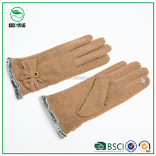 Woolen fashion popular thick warm lining smart finger touch gloves