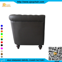 XQ-892 Luxurious Atmosphere Black PU Leather Sponge Cushioned Wood Legs Office Room Furniture Sofa