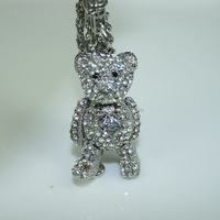 K106 Free shipping 2016 Tassels key chain Crystal jewelry Teddy bear keychain Silver jewelry Animal Key pendant Silver keyring