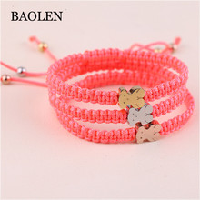 Factory Direct Sales New Fashion Stainless Steel Bear Accessary Knot Adjustable Black Red Thread Bear Bracelet Women Jewelry