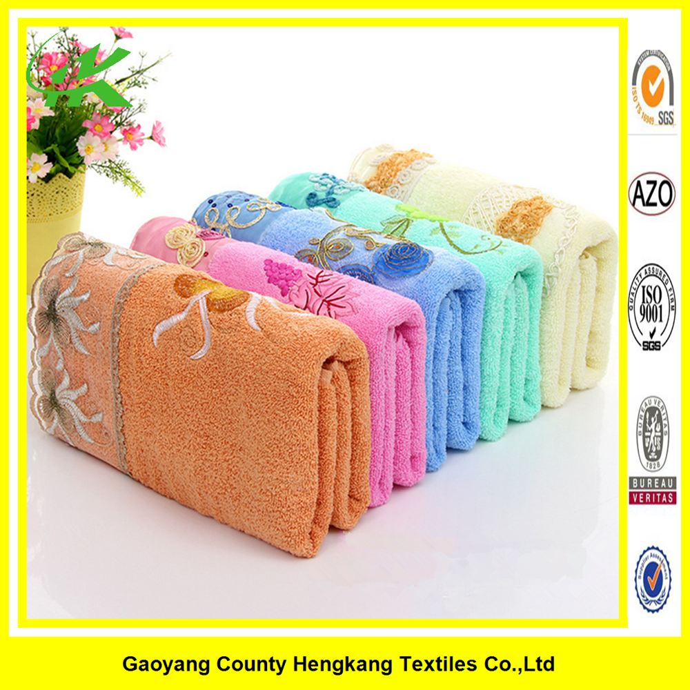 Wholesale textile China made custom turkish cotton towel with lace