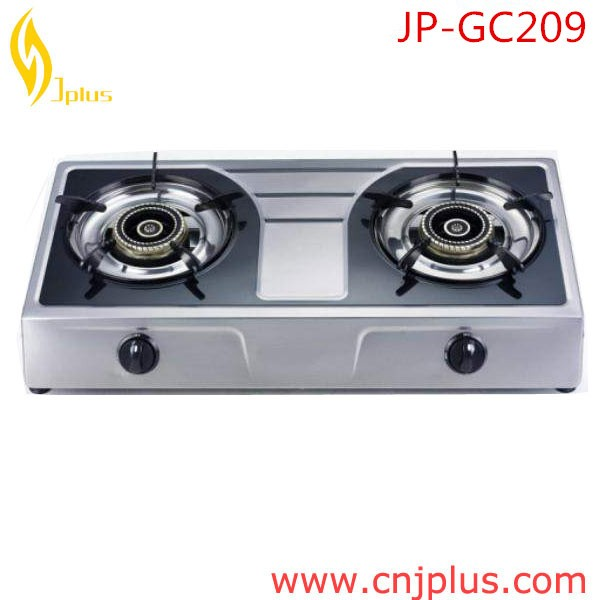 JP-GC209 Heavy duty China elegant stainless steel super blue flame 2 burner gas stove