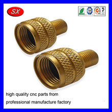 custom Brass CNC Turning Parts Small Large Valve Stem Adapter ,female adapters