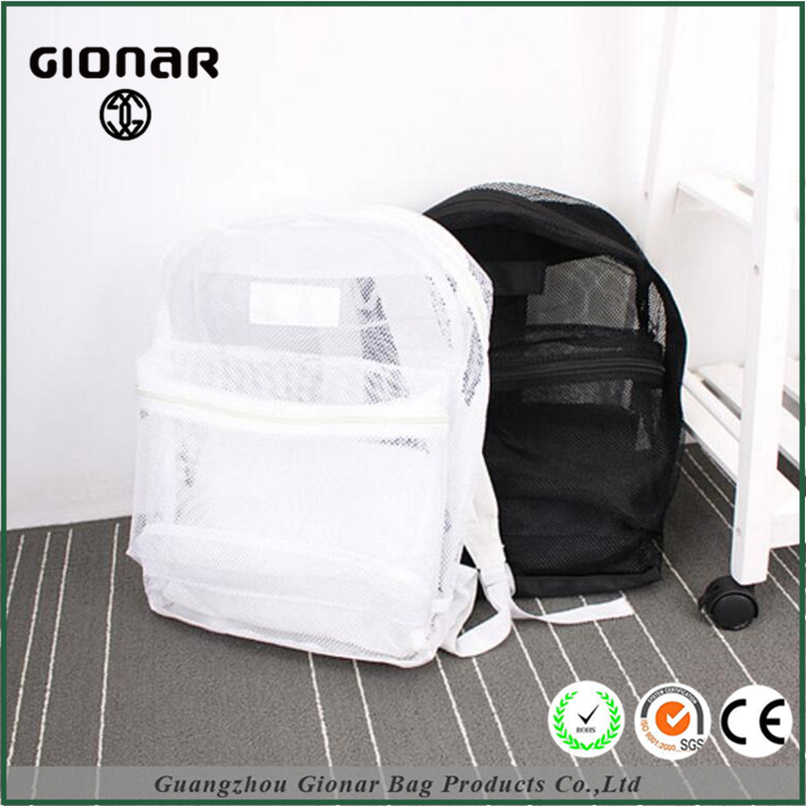 Gionar New Design Beach Towel Cute Mesh Plain White and Black Bag in Bag Transparent Backpack