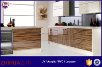 High glossy wood grain UV Acrylic mdf kitchen Cabinet Door plastic Panels