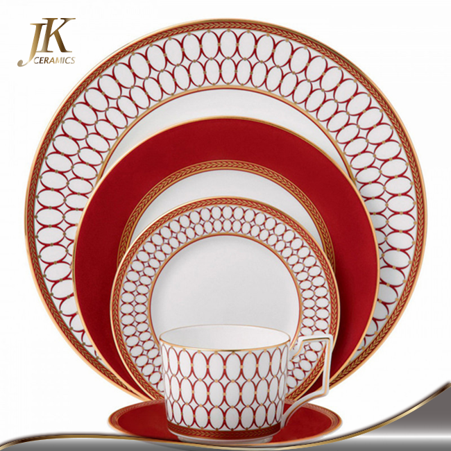Chinese new year hot selling tempered bone china dinnerware sets plate decoration for wedding and engagement cheap dishes