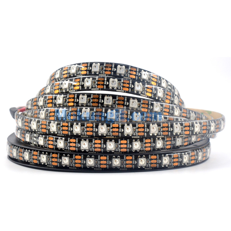 Addressable 5M 16.4F IP65 Waterproof 300 LEDS 60 pixels/m WS2812 WS2812B <strong>RGB</strong> 5050 SMD LED Strip Light PCB black