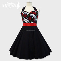 Wholesale Rockabilly 50s Skull Tattoo Roses Corset Petticoat Gothic Retro Punk Emo Pin Up Vintage Party Swing Dress