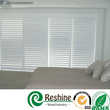 Stained sliding timber plantation window shutter