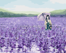 Hot sell wholesale handmade lavender and girl DIY oil painting