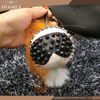 wholesale chinese fur pompom keyring fur ball monster keychain for accessory