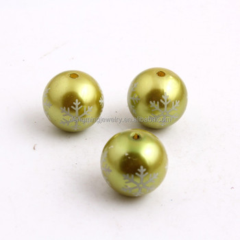 Olive Color Custom Acrylic Imitation Pearl Print Snowflake Beads for Bubble Chunky Necklace Jewelry 20mm