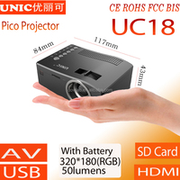 2015 Newest UNIC UC18 projector with battery support AV USB SD HDMI IR smartphone projector,low cost projector
