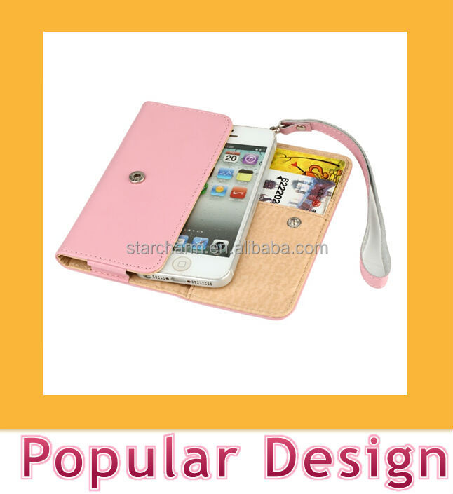 Top grade cell phone leather case with hand strap for Iphone 5