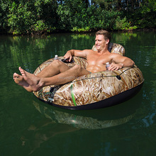 "water sportsTeam Realtree pvc inflatable lake runner 53"" inflatable pool lounger with cup holders,mesh bottom,backrest,handles"
