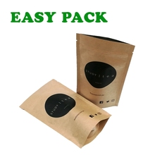 Reclosable Laminated Plastic Paper Stand Up Zip Pouches , Clear Resealable Plastic Kraft Paper Bags