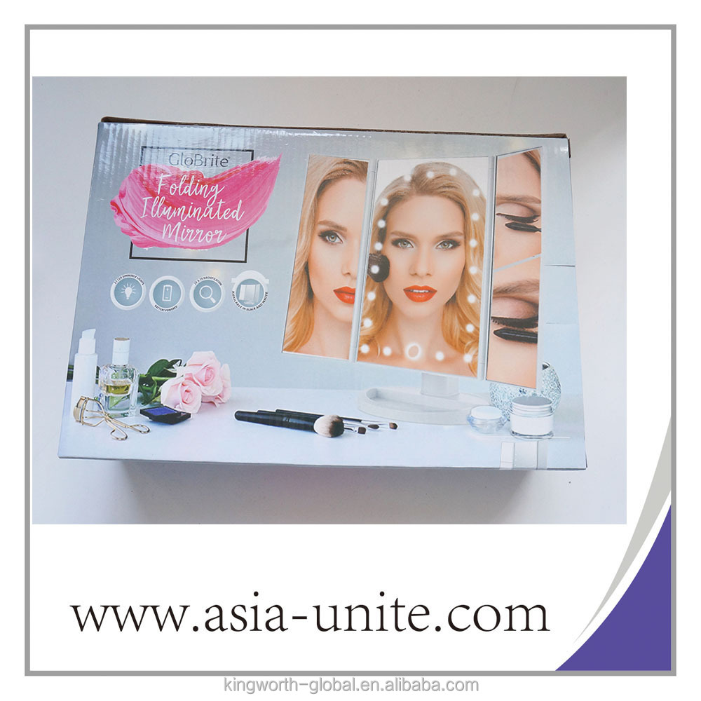 Tri-Fold Lighted Vanity Mirror Three Panel 21Pcs Led Light 180 Degree Free Rotation Countertop Cosmetic Makeup Mirror