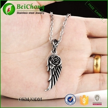 Stainless steel jewelry man cool accessories wings of the angel with rose pendant angel wing necklace