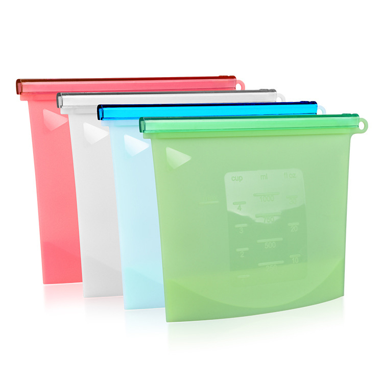 BPA free Leakproof Reusable Silicone Food Storage Bag,Washable Silicone Fresh Bag