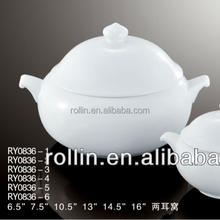 High quality white ceramic porcelain soup tureen with two ears for restaurant and hotel