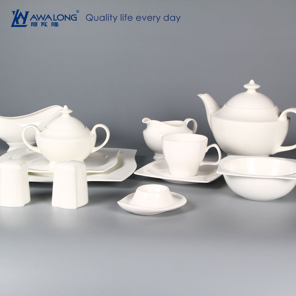 restaurant use white dinner set bone china / royal dinnerware porcelain with irregular shape