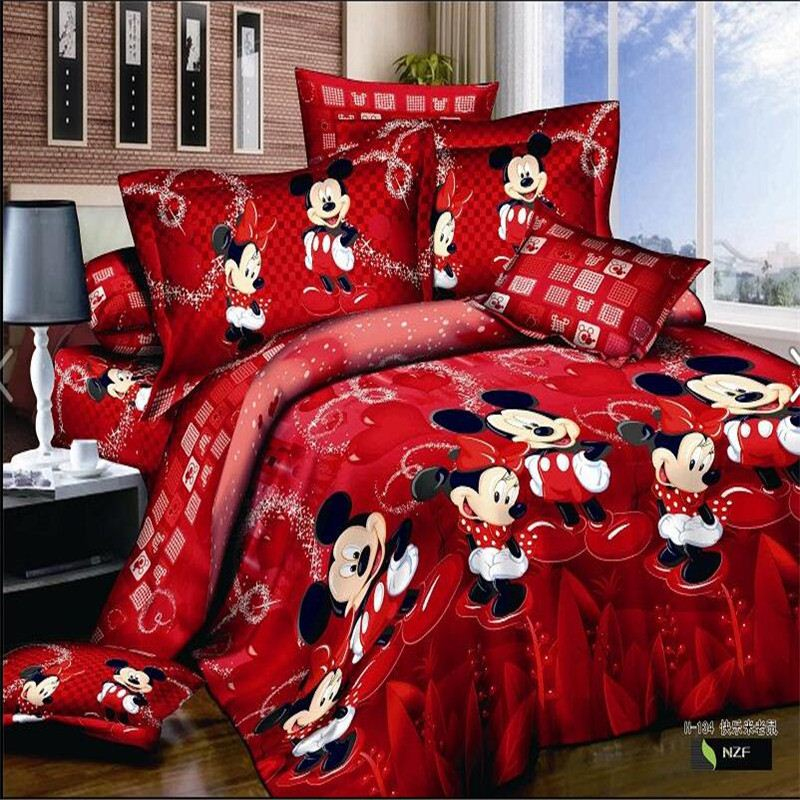 Mickey mouse queen cartoon 3d 100% cotton bedding <strong>sets</strong> 4pcs include 1pc duvet cover 1pc bed sheet 2 pcs pillowcases for kids.