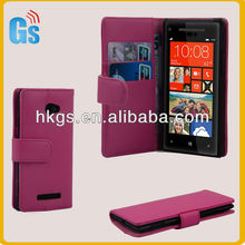 Smooth Leather PhotoCard Wallet Flip Hard Case Cover For HTC 8X