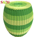 creative home outdoor colorful handmade PE rattan round plastic ottoman stool
