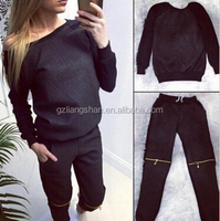 OEM Wholesale Custom Sexy Casual Women's Sports Tops Sweatshirt+Pants Plain Track&Sweat Suits 2Pcs Tracksuit