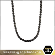 Heavy Twisted Helix Gold Rope Chain Necklace Gun Black MJCN018