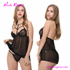 Hot Sale girls See Through Black Lace Straps Sexy Babydoll Nightwear