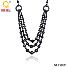 2016 latest design stone necklace graduated black agate beads necklace jewelry