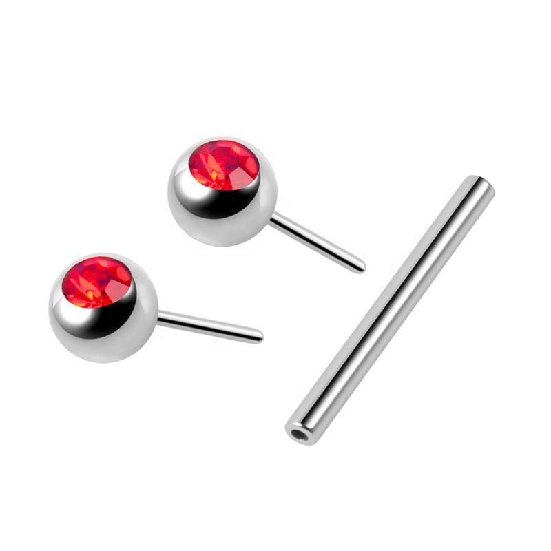 Simple Design Ear Barbell  with Two Balls Plated Fashion Silver Stainless Steel Ear Piercing Jewelry