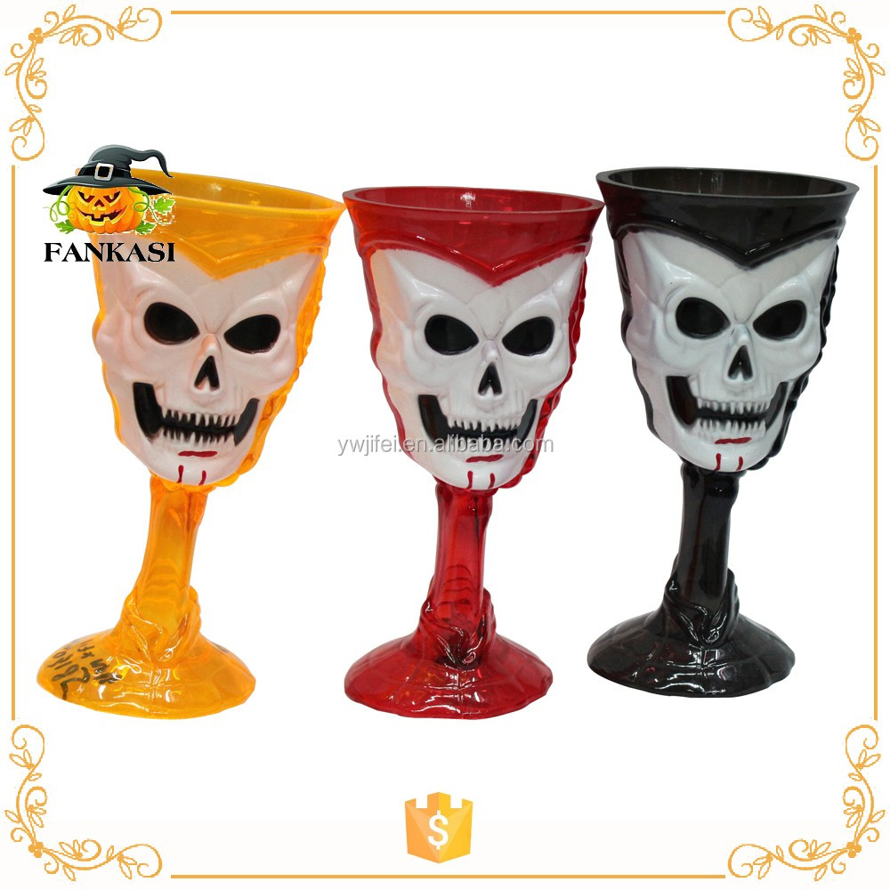 Halloween colorful plastic skull water cup