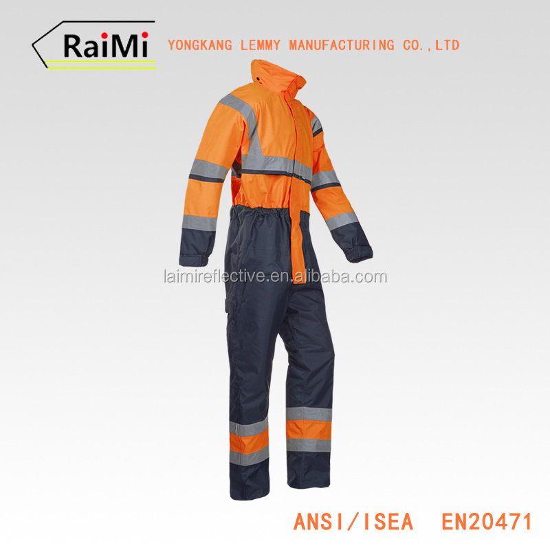 Hi Vis Safety Work Wear Waterproof Coverall Suit Orange Reflective Winter Coveralls