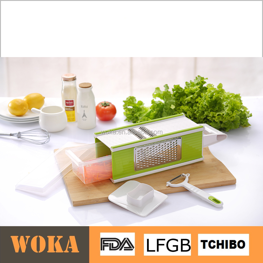 multi functional green 5 in 1 with storage box vegetable slicer cuboid grater