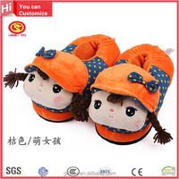 New Minion Plush House cute design kids shoes cheap orange Indoor Warm Winter Aniaml Bear Shaped Slippers and Shoes for Kids