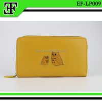 2016 wholesale best gift lovely yellow owl animal leather ladies clutch purse