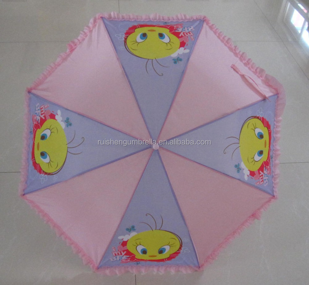 Child automatic with fringe duck print umbrella